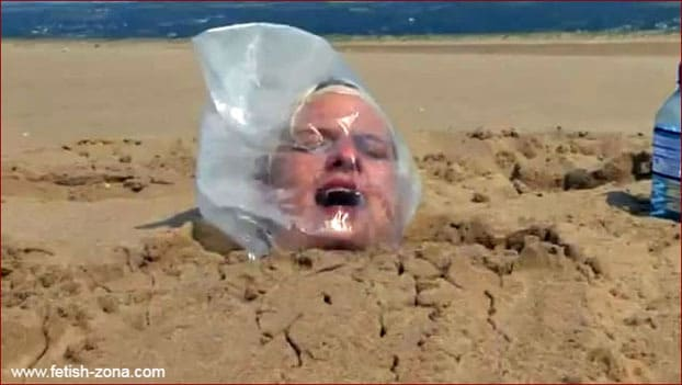 Breath Control for girl buried in the sand - MP4