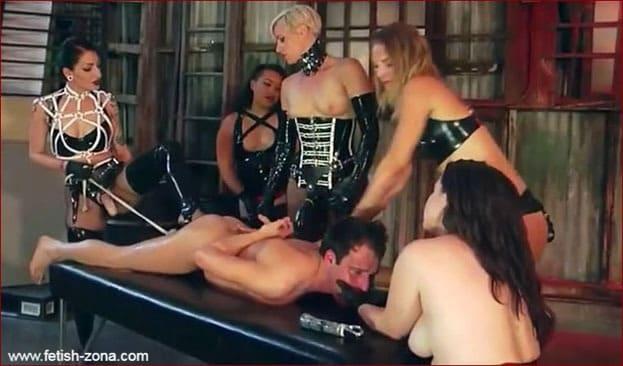 Mona Wales, Cibil Troy, Domina Helena, Hannah Hunt - Gang rape men strapon from latex femdom - MP4
